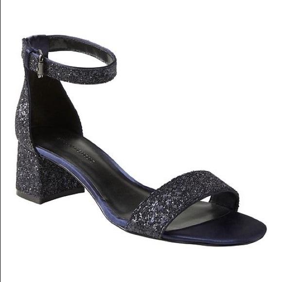 glitter low block heels